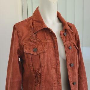 Refuge rust Distressed denim jacket size small